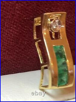 Vintage 14k Gold Natural Green Emerald & Diamond Pendant Signed Princess Cut
