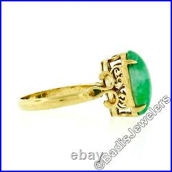 Vintage 14k Gold Open Work Gallery Prong Oval Cabochon Green Jade Solitaire Ring