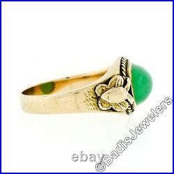Vintage 14k Gold Oval Cabochon Green Jade Solitaire Twisted Wire Butterfly Ring
