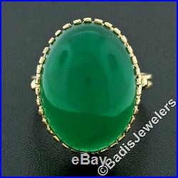 Vintage 14k Gold Oval Cabochon Green Onyx Solitaire Ring with Detailed Gallery