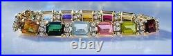 Vintage 14k Gold Pink Green Tourmaline Citrine Gemstone Diamond Tennis Bracelet