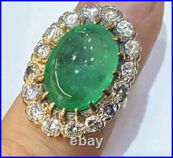 Vintage 14k Rose Gold Ring 15.65ct. Gem Colombian Green Emerald