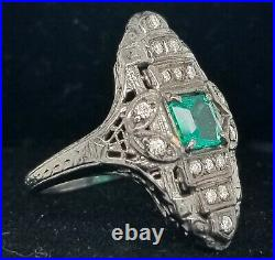 Vintage 14k White Gold Art Deco Ring 1.11ct. Natural Green Emerald