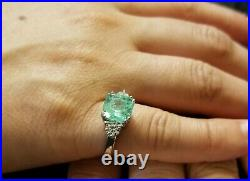 Vintage 14k White Gold Engagement Ring 2.76ct. Natural Mint Green Emerald