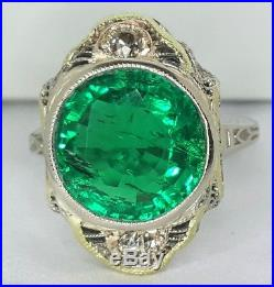 Vintage 14k White Gold Ring 5.44ct. Gem Green Colombia Emerald