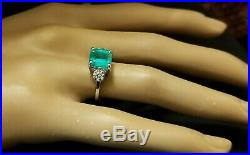 Vintage 14k White Gold Three Stone Engagement Ring 2.45ct. Natural Green Emerald