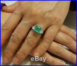 Vintage 14k White Gold Three Stone Ring 2.99ct. Natural Green Colombia Emerald