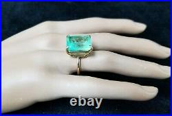 Vintage 14k Yellow Gold Engagement Ring 16.97ct. Colombia Green Emerald