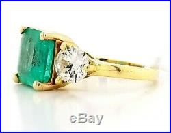 Vintage 14k Yellow Gold Ring 3.01ct. Natural Colombia Green Emerald
