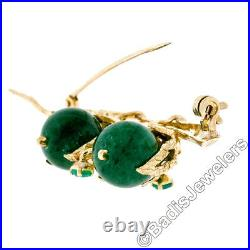 Vintage 14k Yellow Gold Textured Jade Passionfruit & Emerald Vine Branch Brooch
