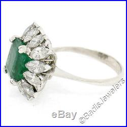 Vintage 18K White Gold 5.44ctw Emerald Solitaire Rare Marquise Diamond Halo Ring