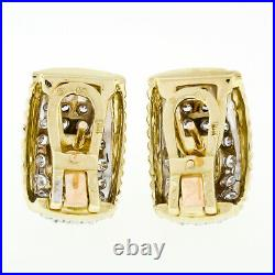 Vintage 18k Two Tone Gold 4.80ctw GIA Cabochon Emerald & Diamond Cuff Earrings