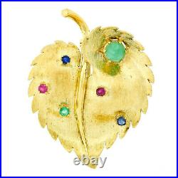 Vintage 18k Yellow Gold Jade Ruby Sapphire Emerald Textured Leaf Brooch Pin