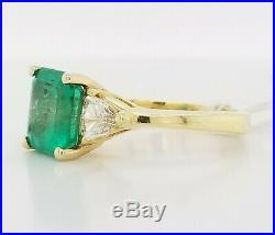 Vintage 18k Yellow Gold Ring 2.56ct. Natural Colombia Green Emerald