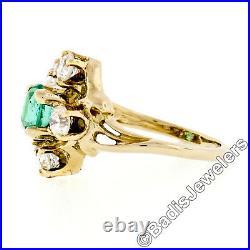 Vintage 18k Yellow Gold Round GIA RARE UNTREATED Emerald Solitaire Diamond Ring