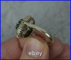 Vintage 1.6ct Diamond and Emerald 18ct Gold Cluster Ring