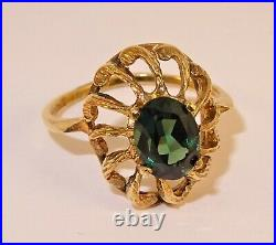 Vintage 9ct Gold GREEN RUSSIAN DIOPSIDE ART Deco Style Ring 1973 Small Sz L 22cc
