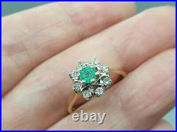 Vintage 9k 9ct gold Emerald and Diamond cluster dress ring UK M US 6.5 nice gift