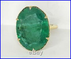 Vintage Antique 14k Yellow Gold Ring 11.37ct. Natural Green Emerald