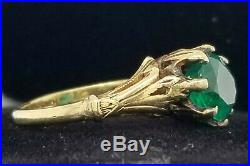 Vintage Antique 14k Yellow Gold Ring 1.81ct. Natural Green Emerald