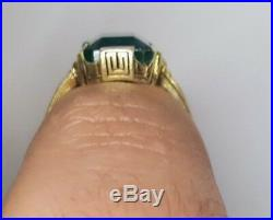 Vintage Antique 14k Yellow Gold Ring 4.87ct. Natural Green Emerald