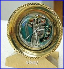 Vintage Bulova Accutron 214 Spaceview Brass Case Just Serviced Fine Condition