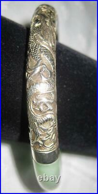 Vintage Chinese STERLING Repousse Etched DRAGONS Green JADE BANGLE BRACELET FAB