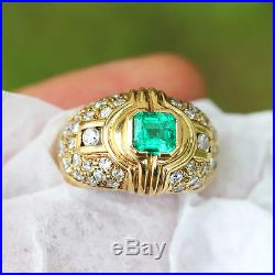 Vintage Emerald Ring with Diamonds in 14kt Yellow Gold 1.75ctw Bezel Set