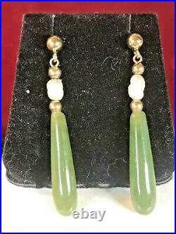 Vintage Estate 14k Gold 585 Genuine Green Jade Earrings Natural Pearls Drop