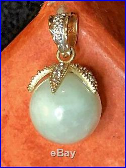 Vintage Estate 14k Gold Green Jade Diamond Pendant Signed Made In Mexico 3.8 Ct