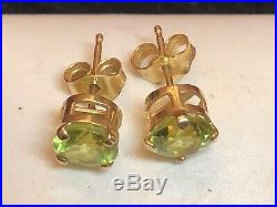 Vintage Estate 14k Gold Natural Peridot Earrings Stud Made In Mexico Gemstone
