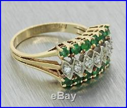 Vintage Estate 14k Solid Yellow Gold 1.05ctw Emerald Diamond Wide Cocktail Ring
