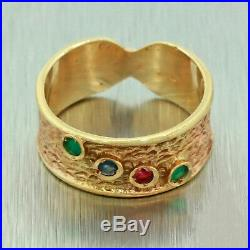 Vintage Estate 14k Solid Yellow Gold Emerald Ruby Sapphire Wide Band Ring