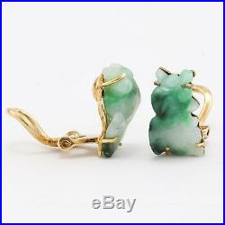 Vintage Estate 14k Solid Yellow Gold Jade Clip On Earrings 4.9 grams