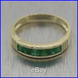 Vintage Estate 14k Yellow Gold 0.60ctw Colombian Emerald Band Ring