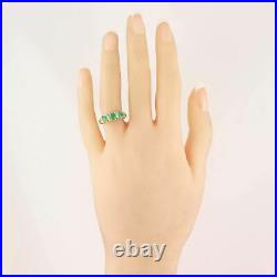 Vintage Estate 14k Yellow Gold 0.75ct Emerald & Diamond Band Ring