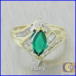 Vintage Estate 14k Yellow Gold 1.25ctw Emerald Diamond Cocktail Ring