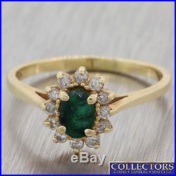 Vintage Estate 14k Yellow Gold. 50ct Natural Green Emerald Diamond Ring Y8