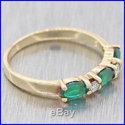 Vintage Estate 14k Yellow Gold. 68ctw Marquise Emerald Diamond Band Ring Y8