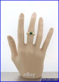 Vintage Estate 14k Yellow Gold. 75ctw Cabochon Green Emerald Band Ring E8