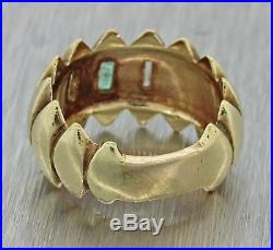 Vintage Estate 14k Yellow Gold Diamond Emerald Carved Marque 11mm Band Ring