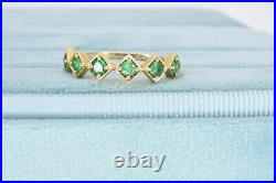 Vintage Estate 14k Yellow Gold Natural Emerald Engagement Anniversary Ring