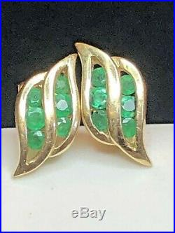 Vintage Estate 14k Yellow Gold Natural Green Emerald Stud Earrings