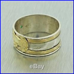 Vintage Estate 18K Yellow Gold Sterling Silver Virgin Mary Green Peridot Ring
