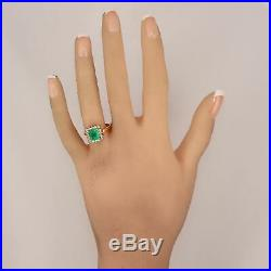 Vintage Estate 18k Yellow Gold 3.30ctw Colombian Emerald & Diamond Cocktail Ring