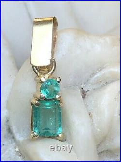 Vintage Estate 18k Yellow Gold Columbia Natural Green Emerald High Quality
