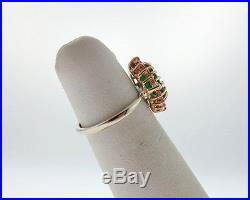 Vintage Estate 1.65ct Natural Emerald Diamonds Solid 14k Two-Tone Gold Ring