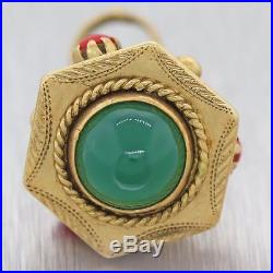 Vintage Estate Antique 18k Yellow Gold Coral Green Onyx FOB Necklace Pendant N8