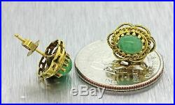 Vintage Estate Antique Style 14k Solid Yellow Gold Jade Filigree Stud Earrings