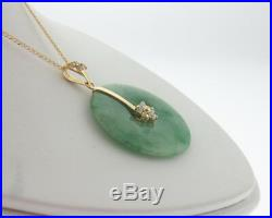 Vintage Estate Green Jade Bi-Disk Solid 14k Yellow Gold Pendant 18 Necklace